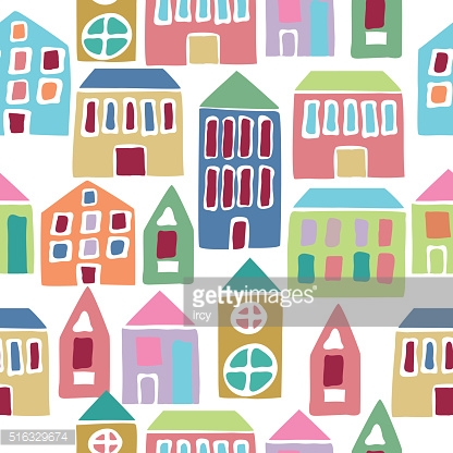 Seamless pattern with cartoon houses