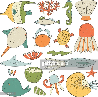 Cute hand drawn doodle sea animals collection