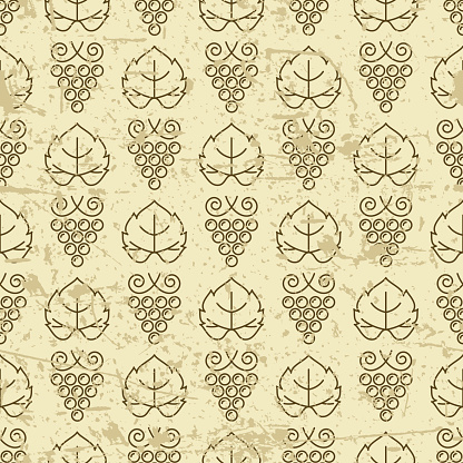 Vector seamless pattern with outline vine grape and grape leaves