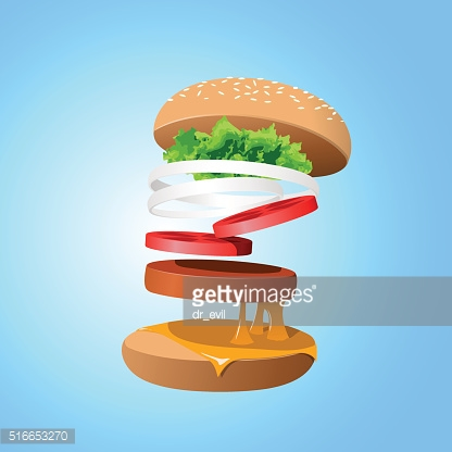 Ingredients hamburger ejected from the packaging