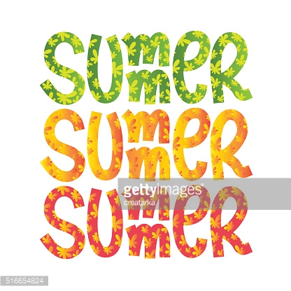 Summer. Colorful hand drawn title