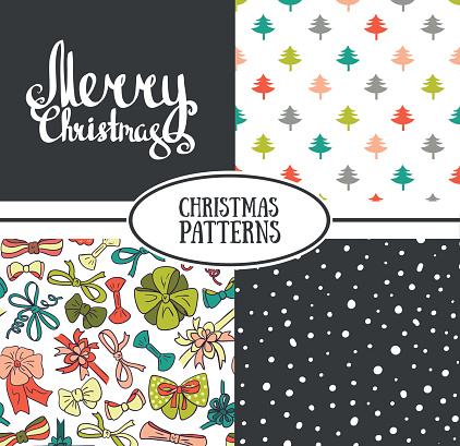 Set of vector  seamless patterns with stylish Christmas trees