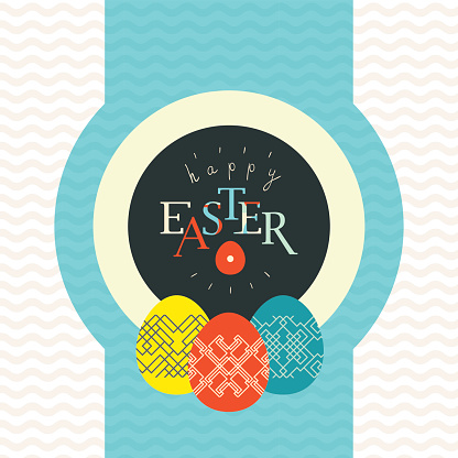 Happy Easter greeting card design. Pained and decorated eggs