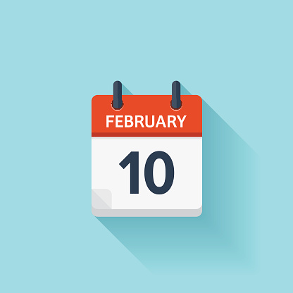 February 10. Vector flat daily calendar icon. Date and time