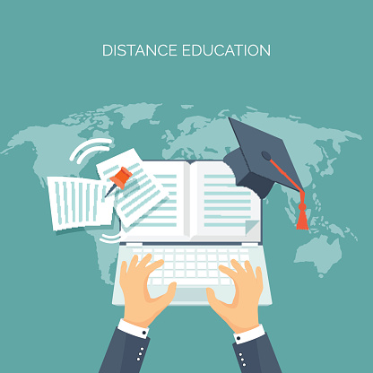 Vector illustration. Book. Education, online courses, web tutorials, e-learning