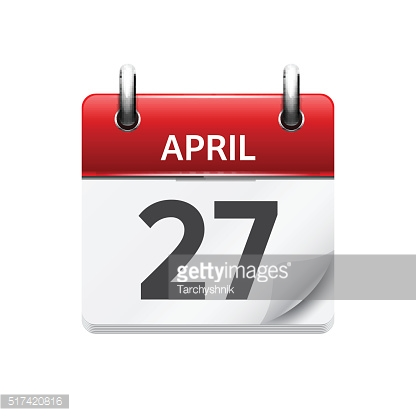 April 27. Vector flat daily calendar icon. Date and time