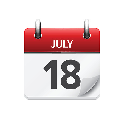 July  18. Vector flat daily calendar icon. Date and time