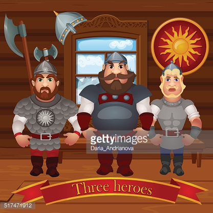 Three men, characters in the hut