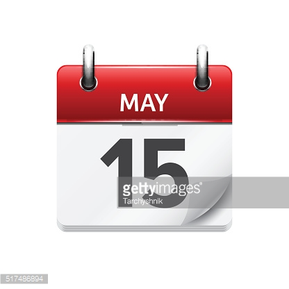 May  15. Vector flat daily calendar icon. Date and time