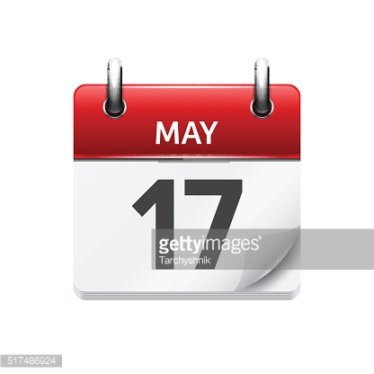 May  17. Vector flat daily calendar icon. Date and time