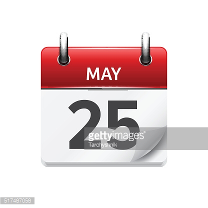 May  25 . Vector flat daily calendar icon. Date and time