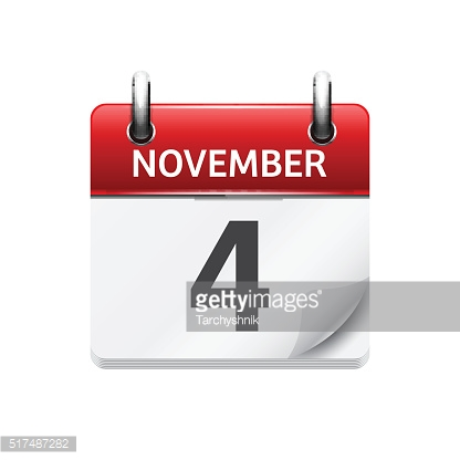 November  4. Vector flat daily calendar icon. Date and time