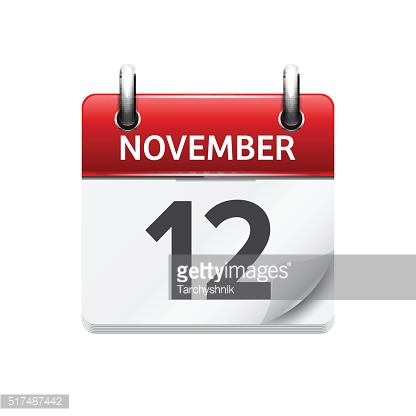 November  12. Vector flat daily calendar icon. Date and time