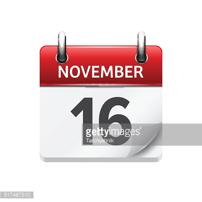 November 16 . Vector flat daily calendar icon. Date and time