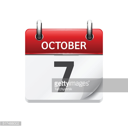 October  7. Vector flat daily calendar icon. Date and time