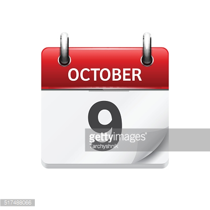 October 9 . Vector flat daily calendar icon. Date and time