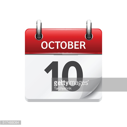 October  10. Vector flat daily calendar icon. Date and time