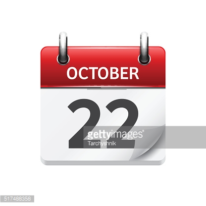 October  22. Vector flat daily calendar icon. Date and time
