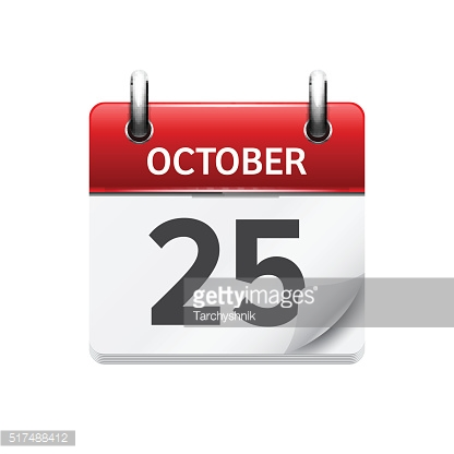 October 25 . Vector flat daily calendar icon. Date and time