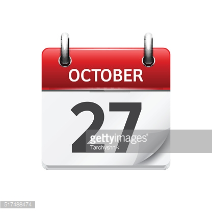 October 277 . Vector flat daily calendar icon. Date and time