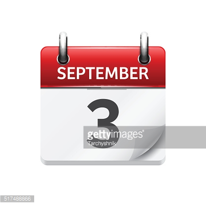 September  3. Vector flat daily calendar icon. Date and time