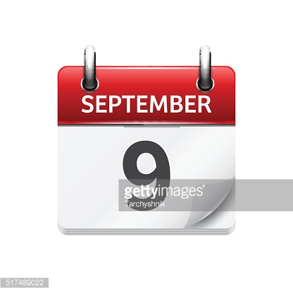 September  9. Vector flat daily calendar icon. Date and time