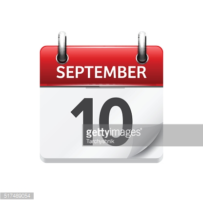 September  10. Vector flat daily calendar icon. Date and time