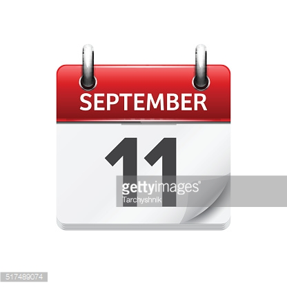 September  1. Vector flat daily calendar icon. Date and time
