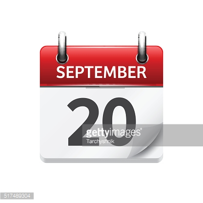 September  20. Vector flat daily calendar icon. Date and time