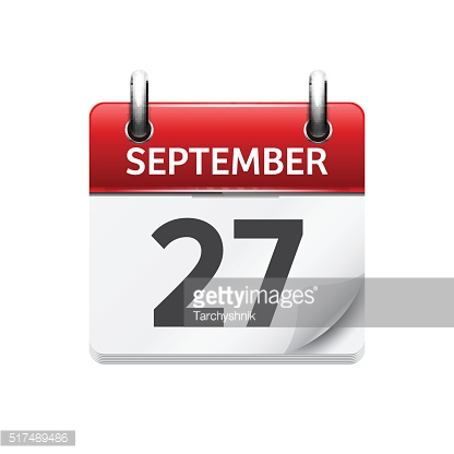 September  27. Vector flat daily calendar icon. Date and time