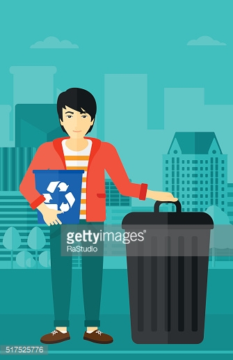 Man with recycle bins