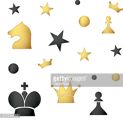 Seamless pattern of colored chess pieces on a white background