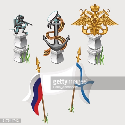 Russian and naval flag, emblem, symbols, monument