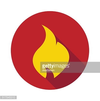 Fire. Flat symbol in the circle.