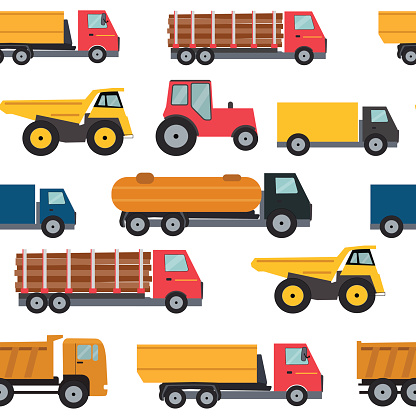 Truck Cars Seamless Pattern Background Vector Illustration