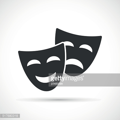 Comedy and tragedy theatrical masks icons