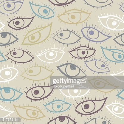 Cartoon eyes seamless pattern. Doodle style.