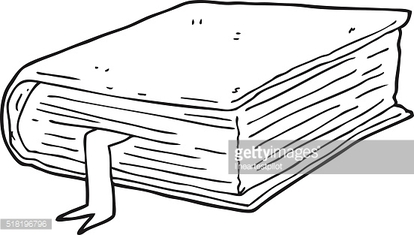 black and white cartoon thick book