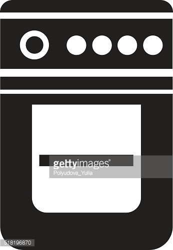 Vector black gase stove icon on white background