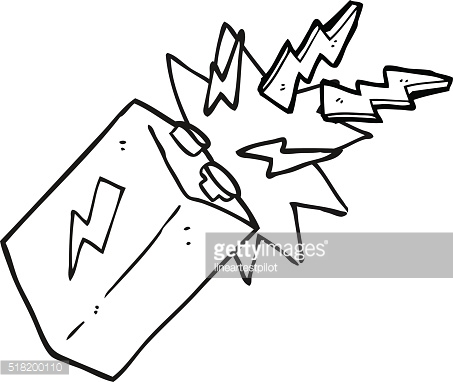 black and white cartoon battery sparking