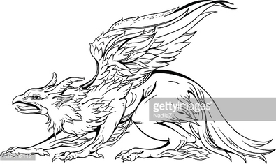 griffin, close-up view, black and white