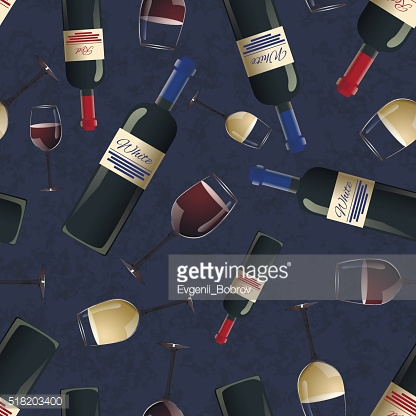 Bottles of red and white wine on blue background