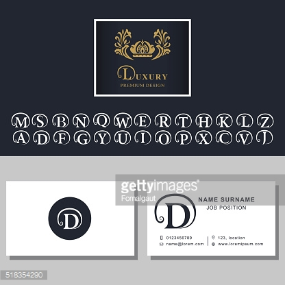 Business card template. Letters design. Abstract modern monogram design elements