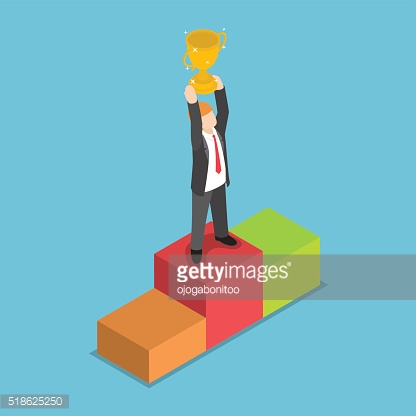 Isometric businessman standing on pedestal and holding trophy