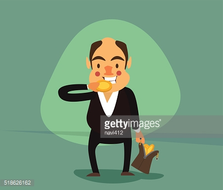 smiling businessman with a bag full of gold coins
