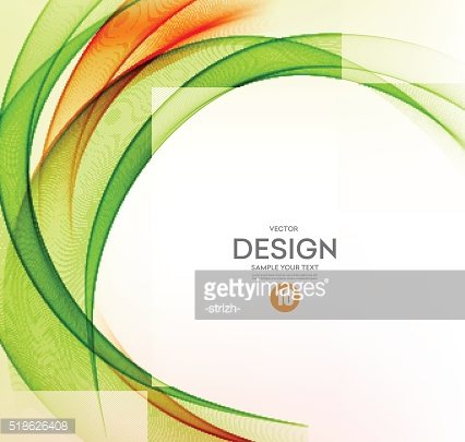 Abstract vector background, orange and green wavy