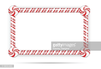 Candy cane frame isolated on white.