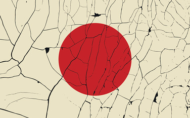Japan old flag with fracture