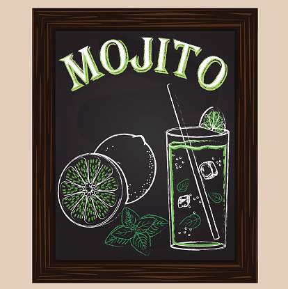 cold mojito with mint