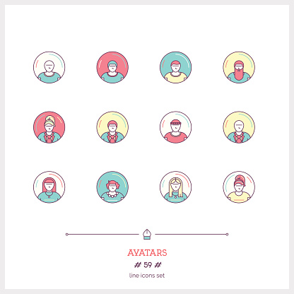 Color line icon set of people avatars objects.